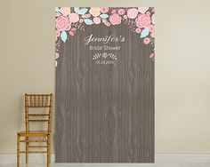 Personalized Photo Booth Backdrop - Kate's Rustic Bridal Collection - Woodgrain