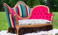 Victorian serape couch desert canary designs serape couch victorian couch serape victorian couch home decor western home furnishings cowgirl magazine Log Cabin Furniture, Western Furniture, Funky Furniture, Home Decor Furniture, Furniture Ideas, Cowhide Furniture, Furniture Design, Couch Makeover, Furniture Makeover