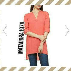 Coral top Nwt HP BEST IN TOPS PARTY BY MYSTISKIE High and low tunic top,keep it classic with a simple top that features roll up sleeves for a 3\4 look,100% rayon, v neck and light fit.looks great layered with tank top underneath or under a faux fur vest with booties. Tops Tunics
