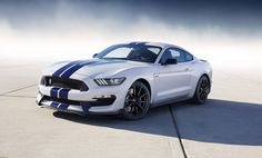 New Mustang GT350 in White with Blue Stripes
