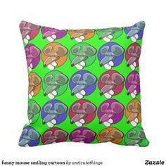 funny mouse smiling cartoon #pillow #throwpillow #cartoon #design #homedecor #homedecorideas #kidsroom