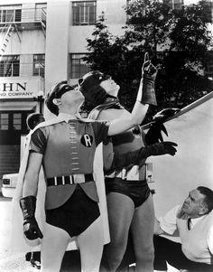 Burt Ward & Adam West on the set of Batman (1966-68, ABC)