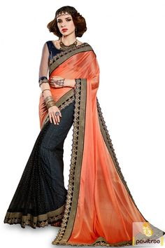 Traditional wear latest orange black lycra net new designs wedding saree online in affordable price. Buy trendy girls wear sarees 2016 in Kerala, Bangalore, Hyderabad, Chennai, Tamil, Mumbai, Delhi with free shipping charges at pavitraa.in. #saree, #partywearsaree, #weddingsaree, #sari, #designersaree,  #sareewithblouse, #Indiansaree,  #fashionsaree, #latestsaree, #designercollection More: http://www.pavitraa.in/store/party-wear-saree/ Any Query:			 Call Us:+91-7698234040