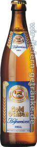 Cerveja Gold Ochsen Hefeweizen Hell, estilo German Weizen, produzida por Brauerei Gold Ochsen, Alemanha. 5.5% ABV de álcool.