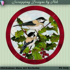 """This digital glass glass art was created by me using a black and white pattern called """"Chickadees"""" which is © Paned Expressions Studio Inc. This is an exclusive creation. I can only sell 1 copy of this glass art according to Paned Expressions Studio's Terms of Use. Size is 2006 X 2018. Glass art by Nik"""