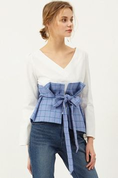 Rora Tie Waist Blouse Discover the latest fashion trends online at storets.com #tieblouse #tiewaistblouse #ribbonblouse