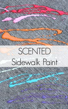 Scented Edible Sidewalk Chalk Paint Baby and Toddler Safe Smells Delicious! Because OF COURSE we should teach our kids that eating paint is acceptable. Preschool Art, Craft Activities For Kids, Projects For Kids, Preschool Activities, Activity Ideas, Outdoor Activities, Sidewalk Chalk Paint, Homemade Art, Fun Learning