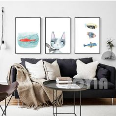 Nordic Wall Picture Cat Fish Art Prints Posters For Child Room Office Bedroom Decor Abstract Watercolor Animal Artwork No Frame