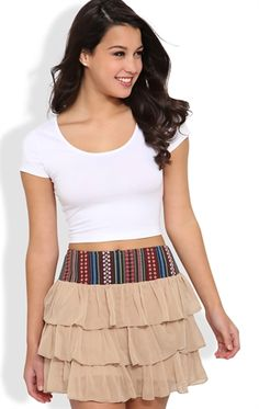 Deb Shops Tiered Skirt with Belted Waist $14.92 I like this skirt.. And I'm not a skirt person!