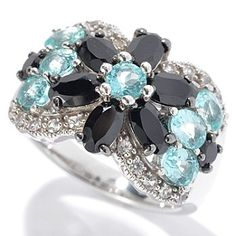 Gem Insider Sterling Silver 3.00ctw Spinel, Apatite & Sapphire Flower Ring