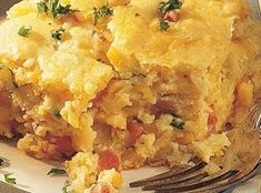 Tierney Tavern: Country Ham and Cheese Cornbread Casserole (I used marie calendar's southwestern cornbread and pacific foods salsa con queso along with some regular cheddar and jack cheeses. Ham And Cheese Casserole, Cornbread Casserole, Casserole Recipes, Ham Recipes, Dinner Recipes, Frozen Corn Recipes, Recipies, Baking Recipes, Chicken Recipes