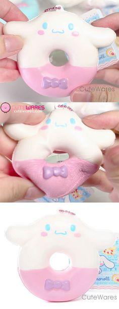 Sanrio Cinnamoroll Puni Puni Mascot Donut / doughnut Ramune Squishy Cellphone Charms - Pink Body