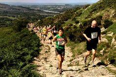 Running uphill.