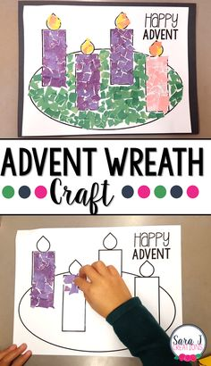 Wreath Rip Art Craft Printable advent wreath craft is perfect for kids to make to prepare for Christmas.Printable advent wreath craft is perfect for kids to make to prepare for Christmas. Preschool Christmas, Noel Christmas, Christmas Crafts For Kids, Christmas Activities, Preschool Crafts, Kids Advent Crafts, Advent For Kids, Advent Ideas, Christmas Tables