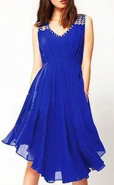 Sleeveless V Neck Blue Knee Length Dress