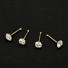 925 Sterling Silver  Nose Studs With 2.5mm CZ Nose Bones Piercing Stud