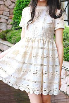 Cut-Out Embroidery Beige High Waist Dress