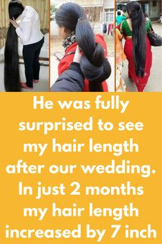 He was fully surprised to see my hair length after our wedding. In just 2 months my hair length increased by 7 inch Step 1 – Egg hair pack 2 eggs Milk Lemon- 1 big size Olive oil – 1 tbsp Take 2 eggs with yellow part Add 4 tbsp of raw milk Add 1 tbsp extra virgin olive oil Mix it well Add juiceof 1 big size lemon Apply this mask all over your scalp and hair …