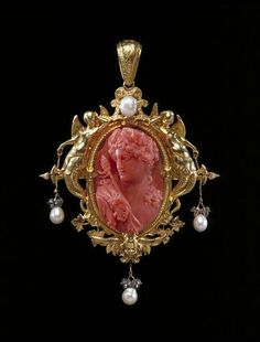 Carved Coral, Diamond, Pearl And Gold Cameo Pendant