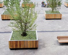 Contemporary public bench in wood and concrete - CONCRETE CAMBER - Streetlife