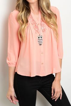 SOLID LACE DETAIL BUTTON DOWN 3 4 SLEEVE TOP