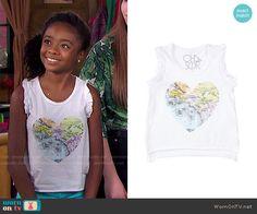 Zuri's heart map top on Bunk'd.  Outfit Details: http://wornontv.net/51274/ #Bunkd
