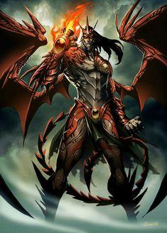 "Angra Mainyu is the Avestan-language name of Zoroastrianism's hypostasis of the ""destructive spirit"". The Middle Persian equivalent is Ahriman. Angra Mainyu is omnimalevolent. Angra Mainyu is Ahura Mazda's adversary. Dark Fantasy Art, Fantasy Artwork, Fantasy Men, Final Fantasy, Ange Demon, Demon Art, Fantasy Dragon, Fantasy Warrior, Fantasy Creatures"