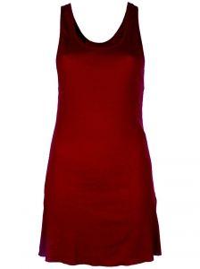 Red cotton-cashmere blend vest top featuring a scoop neck, an elongated hem.