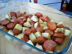 Kielbasa and Potatoes This was really good, left the peels on the potatoes and do not skip the microwave step! Also subbed butter for olive oil and added my own blend of favorite spices.  But the method made a really delicious meal!