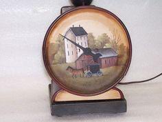Table Lamp Vintage Scales Hand Painted Primitive Folk Art Amish Farm Buggy Rjpe | eBay