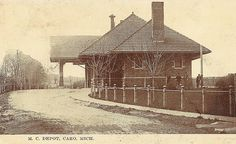 Vintage postcard of the Michigan Central Depot in Caro, Michigan