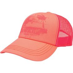 Billabong Women's Hawaii Sunset Trucker Hat ($18) ❤ liked on Polyvore featuring accessories, hats, neon coral, adjustable hats, mesh back hats, mesh back snapback hats, snap back hats and graphic hats