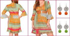 Tunique indienne en coton à porter tous les jours !  http://www.refletsindiens.com/blog/tunique-indienne-jahmila-tendance-vert-et-orange-n10
