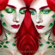 29th October - POISON IVY  Had some requests for a quick and easy version of this lady! Really enjoyed it and it is all shadows, glitters and pencils - no cream pains necessary! Got my freckles idea from @jordanhanz  I used a mix of @starcrushedminerals @inglotireland @sauceboxcosmetics and @sugarpill. I decided not to put on any mascara or lashes because why not? Hope you like it!  #erikamariemua