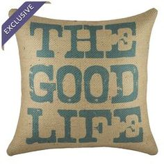 Handmade burlap pillow.  Product: PillowConstruction Material: 100% Burlap coverColor: Blue and beigeFeatures: Insert included Handmade by TheWatsonShopZipper enclosureMade in USA Dimensions: 16 x 16Cleaning and Care: Spot clean only