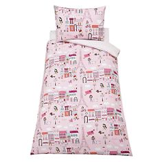 Buy little home at John Lewis Paris Single Duvet Cover and Pillowcase Set, Pink Online at johnlewis.com Single Duvet Cover, Duvet Cover Sets, Girls Bedroom, Bedrooms, Daughters Room, Little Houses, John Lewis, Pillow Cases, Kids Room