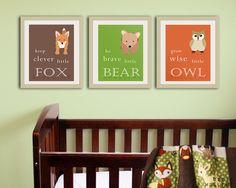 Baby nursery art prints. Inspiration typography prints. Woodland nursery decor. Owl Nursery wall art.