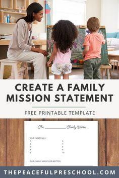 Wondering how to create a family mission statement? This free printable template makes it simple! The template is an amazing guideline to give you ideas on how to craft your own family mission statement. Download the free printable to get started! Montessori Homeschool, Preschool Curriculum, Mission Statement Template, Family Mission Statements, Preschool Supplies, Early Learning Activities, How To Start Homeschooling, Create A Family, Charlotte Mason