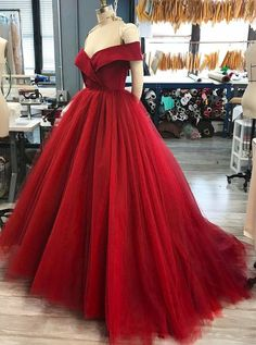 dreamy prom party dresses, chic red off shoulder ball gowns, fashion formal evening dresses.