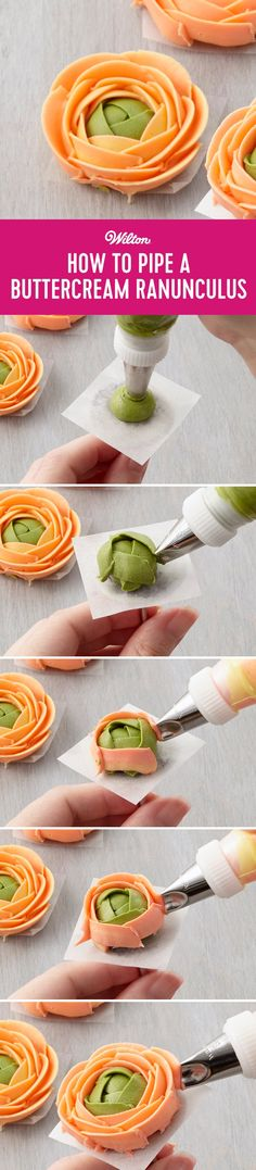 How to Pipe a Buttercream Ranunculus - Decorate cupcakes, cakes, brownies and more with this beautiful buttercream ranunculus. Great for making ahead or piping directly on a cupcake or mini cupcake, this buttercream flower is great for beginners and those new to piping. Try using two separate colors for a realistic look! #cakedecorating #buttercream #buttercreamflowers #ranunculus #wiltoncakes