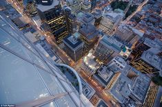 Don't look down: On lower buildings, Tom says you get a sense of being in an urban 'jungle', surrounded by a forest of concrete, steel and g...