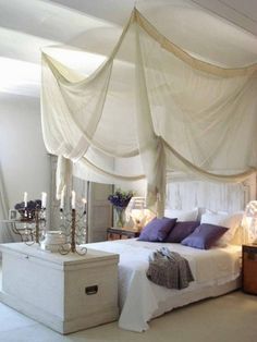 Romantic bedroom setting...love all the color variations