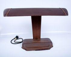 Vintage Industrial Desk Lamp Brown Metal Construction Push Button Library Lamp Nostalgic Decor