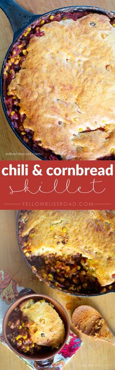 Chili and Cornbread Skillet - A hearty meal cooked all in one pan!