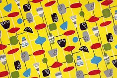 Vintage Home - 1950s Yellow Atomic Design Fabric.