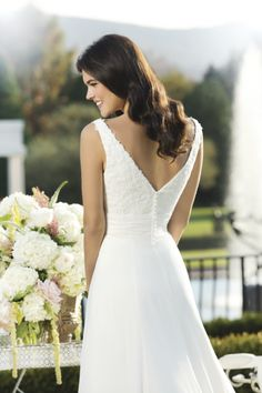 3751_bodice, Stunning v neck wedding dress, with a A'line skirt. Chiffon skirt.