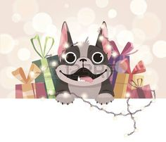 template for the new year dog smiling with gifts Stock Vector