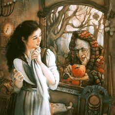 "Charming illustration of ""Snow White"" -- illustrator unknown Grimm's Snow White, Grimm Fairy Tales, Fairytale Art, Gif Animé, Children's Book Illustration, White Art, Faeries, Illustrators, Fantasy Art"