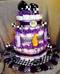Girly race car diaper cake - I like this one but with different colors! Baby Shower Cakes, Baby Shower Parties, Baby Shower Gifts, Baby Gifts, Baby Shower Gender Reveal, Baby Gender, Recees Cake, Diaper Cake Boy, Diaper Cakes