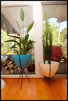 1950s atomic planters - Every home needs a bit of greenery and these are perfect homes for your plants. I really like the delicate metal legs and the bright colours they come in. There's various version with fiberglass bases and atomic ball feet but the ones on this image from the USA are particularly nice.